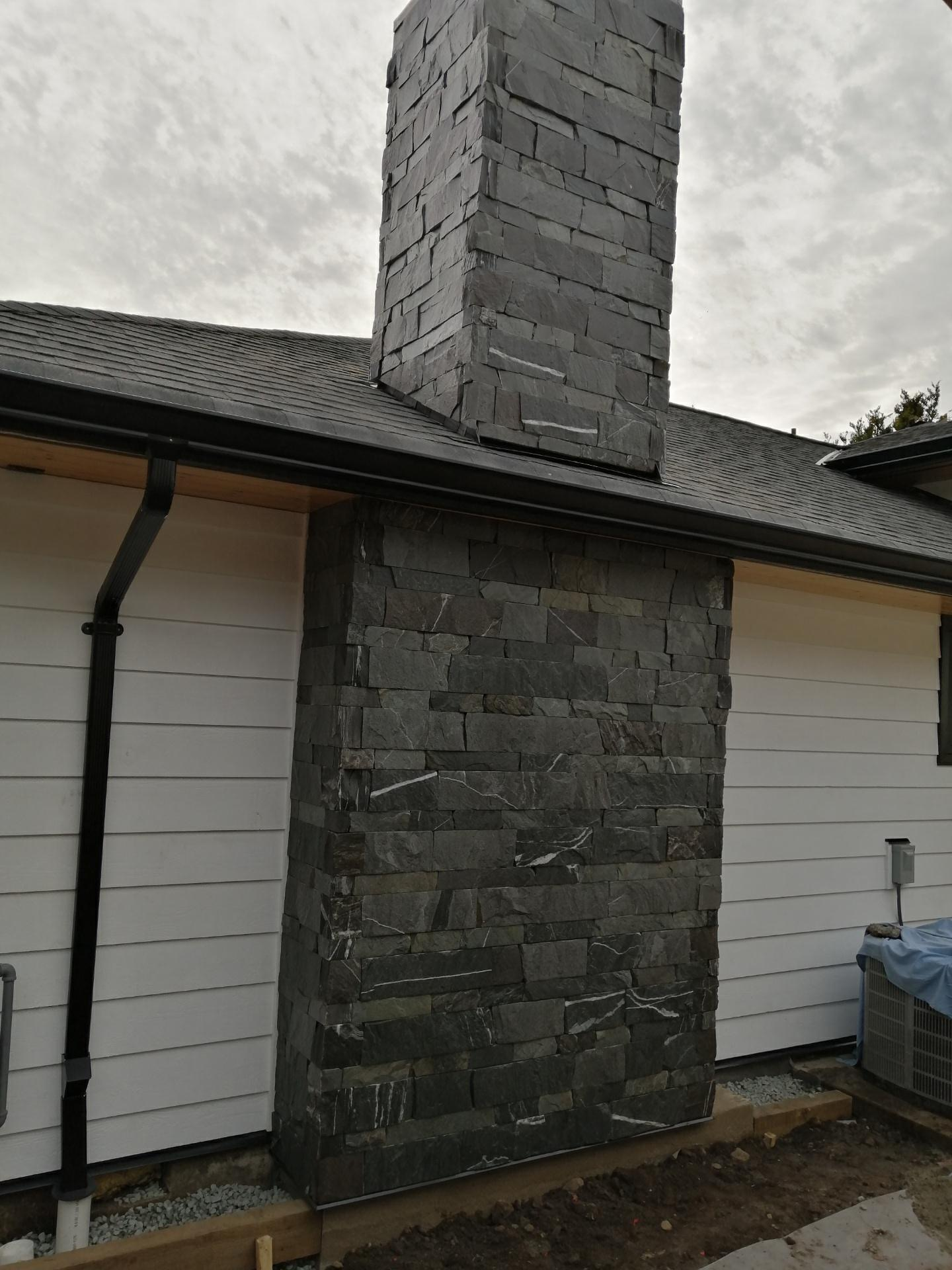 Chimney Stone Installation, North Vancouver